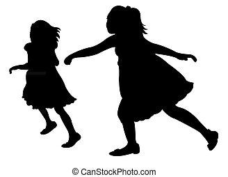 zwei, rennender , kinder