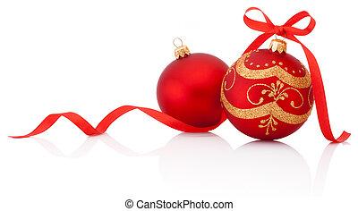 zwei, rotes , weihnachtsdeko, kugeln, mit, geschenkband, schleife, freigestellt, auf, w