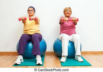 zwei, senioren, gym., gewichte, übungen, muskel, frauen