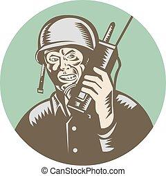 zwei, soldat, amerikanische , radio, welt, kreis,...