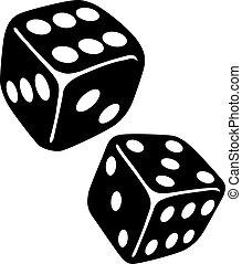 zwei, spielwürfel, gluecksspiel