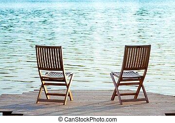 zwei, stühle, auf, dock