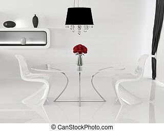zwei, stühle, und, tisch, mit, blumenvase, in, minimalismus, interior., space., kurve, möbel