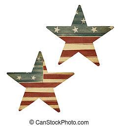 zwei, sternen, amerikanische markierung, themed., feiertag, entwerfen elemente, freigestellt, auf, white.