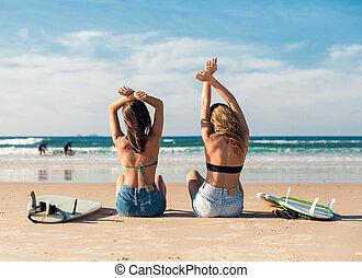 8fac17f6cd Mädels, sandstrand, joga, zwei.