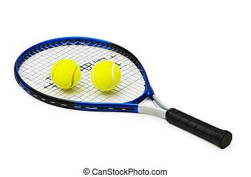 zwei, tenniskugeln, und, racquet, freigestellt, weiß