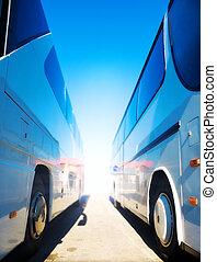 zwei, tourist, busse