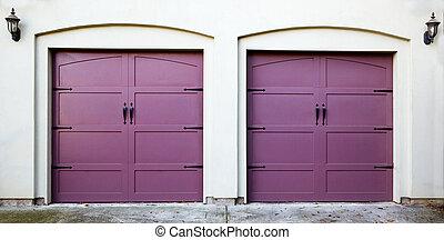zwei, violett, garage türen