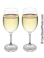 zwei, weißwein, brille