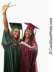 zwei, weibliche , promoviert, in, kappe kleid