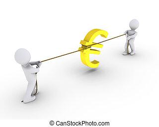 zwei, zeichen, seil, personen, ziehen, euro