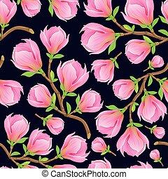zweig, magnolie, seamless, muster