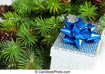 zweig, von, weihnachtsbaum, mit, geschenkschachtel