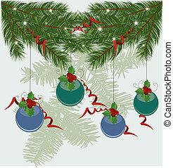 zweige, baum, hintergrund, weihnachten, vektor