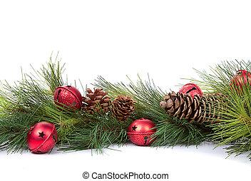 zweige, christbaumkugeln, kiefer