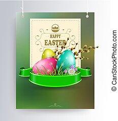 zweige, eier, silhouette, weide, text, rahmen, zusammensetzung, quadrat, grün, schatten, ostern, anhänger, geschenkband
