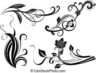 zweige, schwarz, blumen-, elements., design, weißes