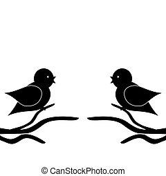 zweige, zwei vögel