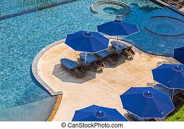 zwembad, met, relaxen, zetels