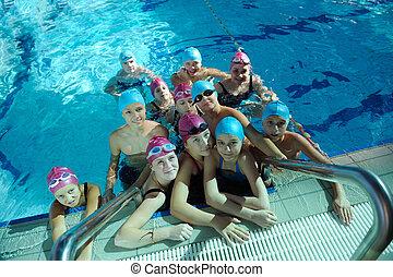 zwemmen, childrens, vrolijke , pool