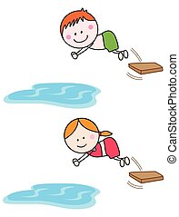 zwemmen, geitjes