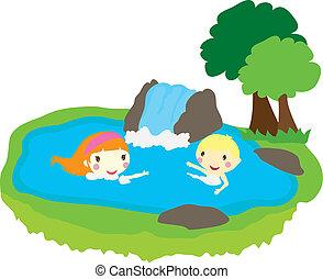 zwemmen, geitjes, twee, pool, natuur
