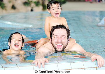 zwemmen, gezin