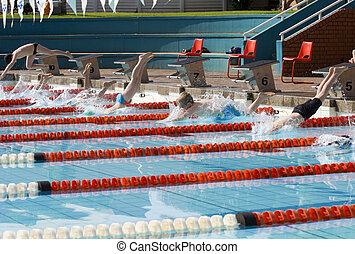 zwemmen, hardloop, startend, kinderen