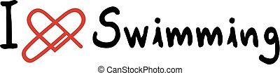 zwemmen, liefde, pictogram
