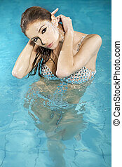 zwemmen, mooi, brunette, pool