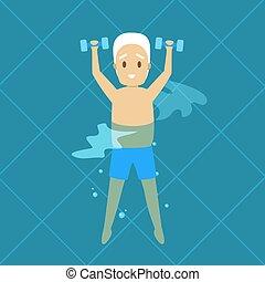 zwemmen, oud, oefening, pool, man