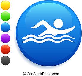 zwemmen, pictogram, op, ronde, internet, knoop
