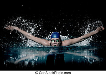 zwemmen, vrouw, zwemmer, techniek, profesional, donkere...