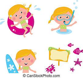 zwemmen, zomer, vrijstaand, verzameling, vector, geitjes, iconen, witte