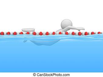 zwemmer, in, de, pool, -, sporten, verzameling