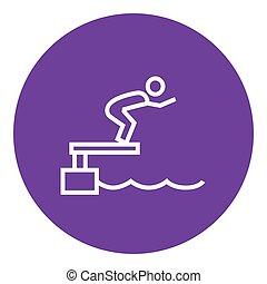 zwemmer, springt, blok, lijn, startend, icon., pool