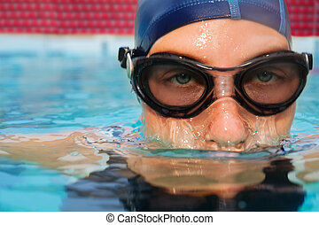 zwemmer, vrouw, onderduiken, in, pool