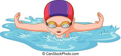 zwemmers, sportende, wedstrijdzwemmen, gedurende