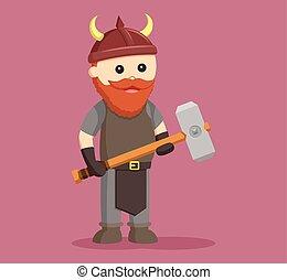 zwerg, krieger, mit, sledgehammer