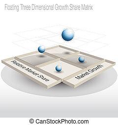 zwevend, 3d, groei, aandeel, matrijs, tabel