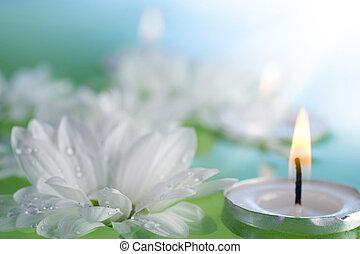 zwevend, bloemen, en, kaarsjes