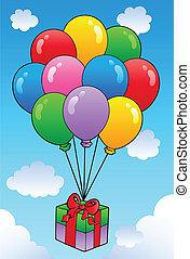 zwevend, cadeau, met, spotprent, ballons
