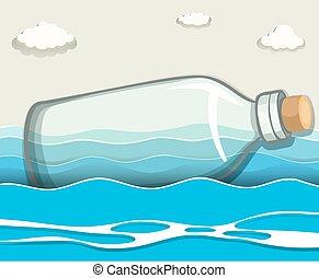 zwevend, lege, zee, fles