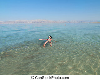 zwevend, meisje, dode zee
