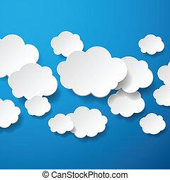 zwevend, papier, wolken, achtergrond