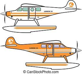 zwevend, vector, plane., hydroplane.
