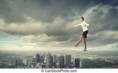 związać, kobieta interesu, balansowy
