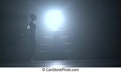 związać, kobieta, sylwetka, ciemny, skokowy, ring