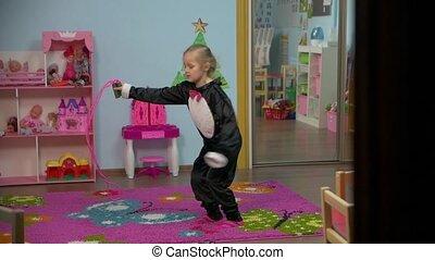 związać, skaczący, mały, skokowy, dziewczyna