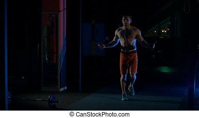 związać, skaczący, sala gimnastyczna, skokowy, człowiek